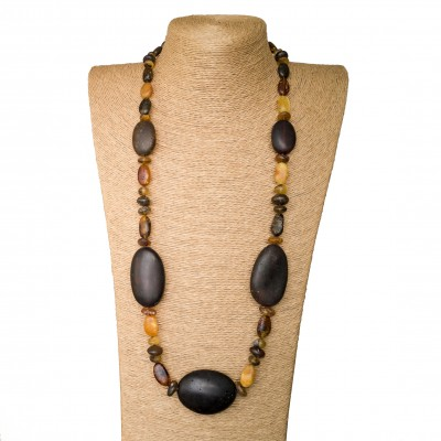 5 dark frozen oval x mix big beads necklace