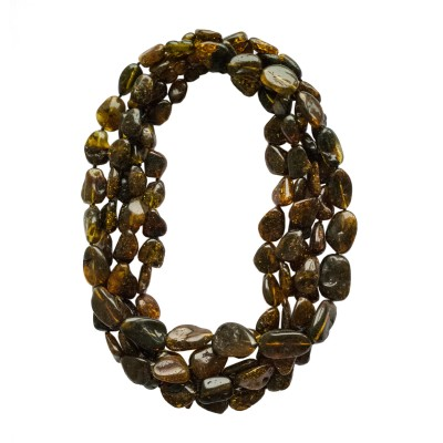 5 pcs of dark green amber necklaces