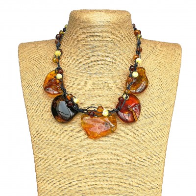 Genuine Baltic amber multicolor free shape necklace