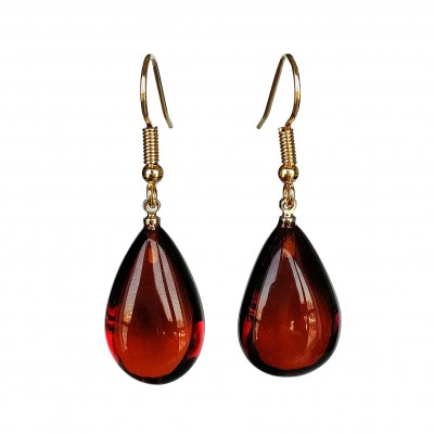 S natural amber cherry drops earrings #04
