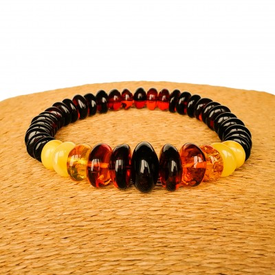 Rainbow style multicolor amber beads bracelet