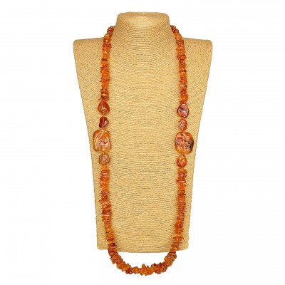 Bright cognac color very long necklace