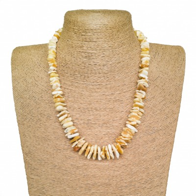 Bright white color natural amber chips necklace
