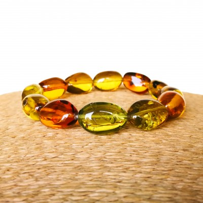 Green and cognac Copal olives bracelet #03