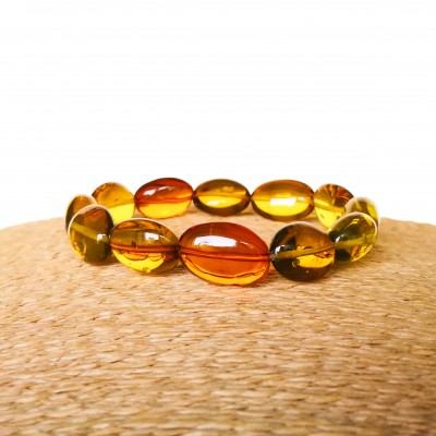 Green and cognac Copal olives bracelet #01