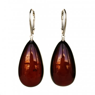 L natural amber dark drops earrings #02