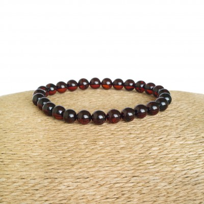 Cherry color natural amber round (7mm) beads bracelet