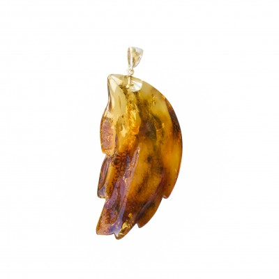 Cognac color amber leaf pendant #04