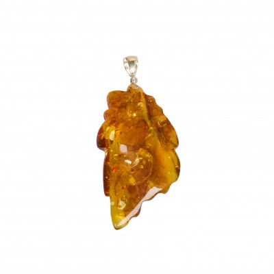 Cognac color amber leaf pendant #05