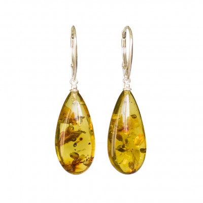 Cognac color copal earrings drops #02