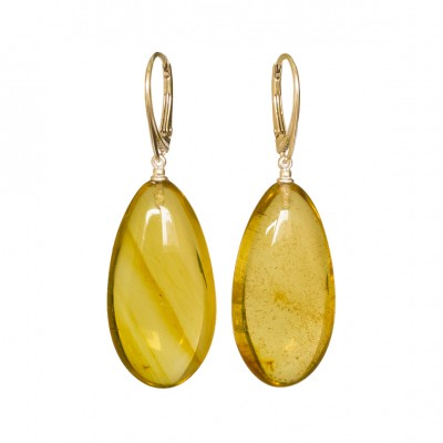 Cognac color copal earrings drops #03