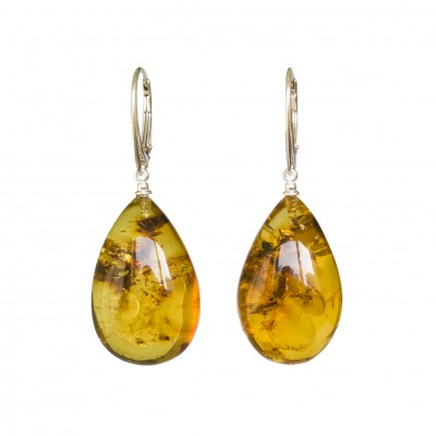 Cognac color copal earrings drops #04