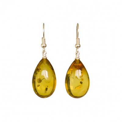 Cognac color copal earrings drops #05