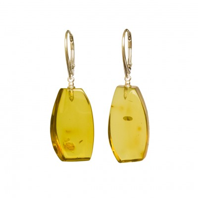 Cognac color copal earrings fragments #01