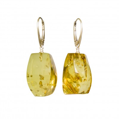 Cognac color copal earrings fragments #04