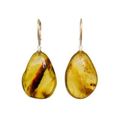 Cognac color copal earrings in natural shape #01