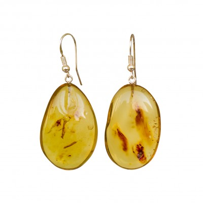 Cognac color copal earrings in natural shape #03