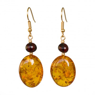 Cognac color natural amber bean earrings