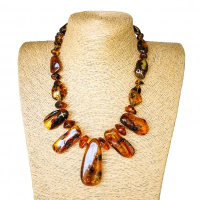 Cognac color copal necklace with 5 main stones #01