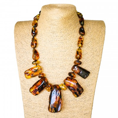Cognac color copal necklace with 5 main stones #02
