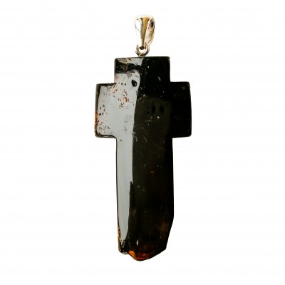 Dark amber cross pendant