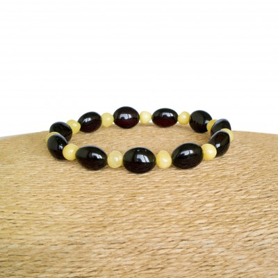 Dark burgundy color natural amber beans bracelet
