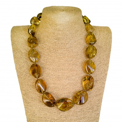 Dark cognac twisted copal beads necklace #01