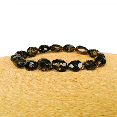 Faceted dark green olives bracelet