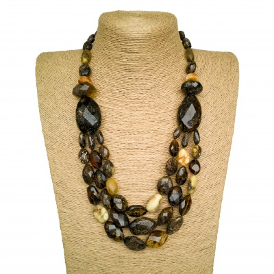 Dark green faceted olives x 3 strings