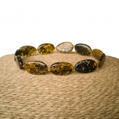 Dark green flat olives bracelet