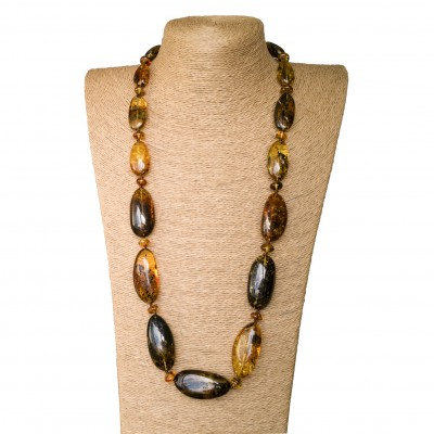 Earth free form oval x cognac long necklace