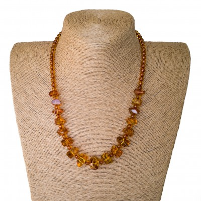 Faceted cognac x round beads necklace