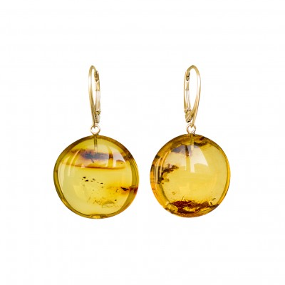 Flat round copal earrings in cognac color #01