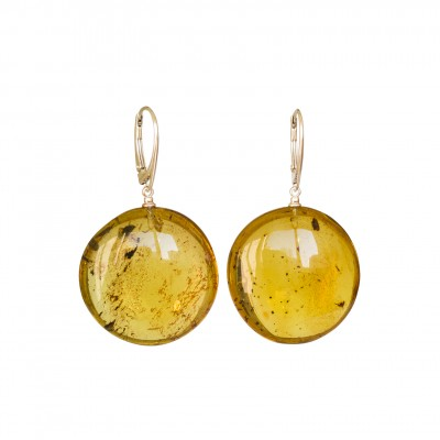 Flat round copal earrings in cognac color #02