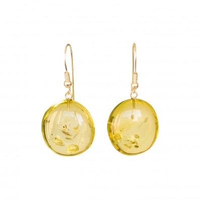 Flat round copal earrings in lemon color #01