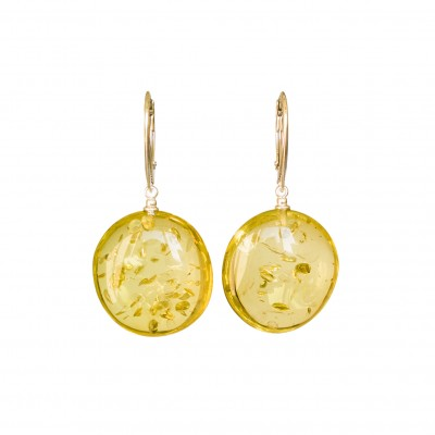Flat round copal earrings in lemon color #03
