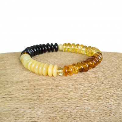 Four segments multicolor tablets amber bracelet
