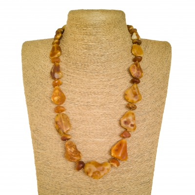 Free shape natural amber matt necklace #01