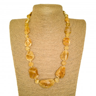Free shape natural amber matt necklace #02