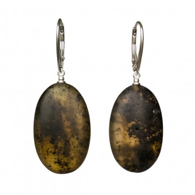 Frozen green amber earrings plums #03