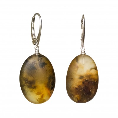 Frozen green amber earrings plums #04
