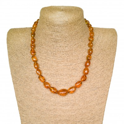 Genuine amber cognac color beans shape necklace