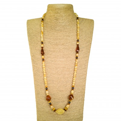 Genuine amber matt x cognac beads necklace composition #01