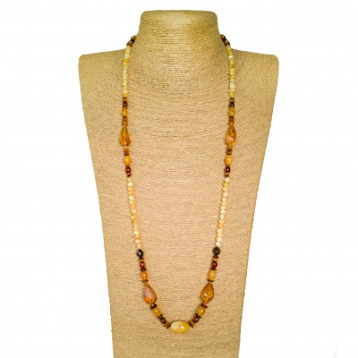 Genuine amber matt x cognac beads necklace composition #02