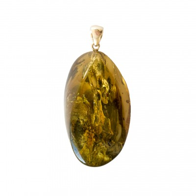 Green amber pendant with a twist #01