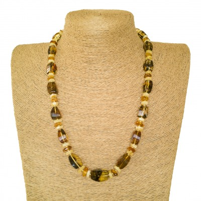 Green amber x matt fragments necklace #02
