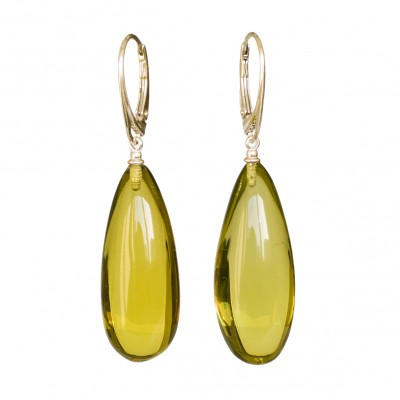 Green color copal earrings drops #01