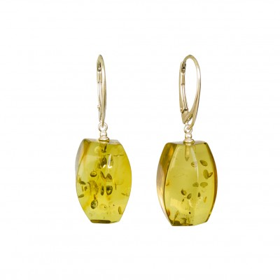 Green color copal earrings fragments #04