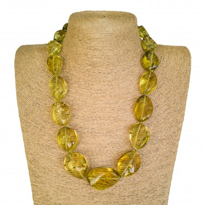 Green twisted copal beads necklace #01