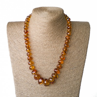 L cognac nuggets necklace